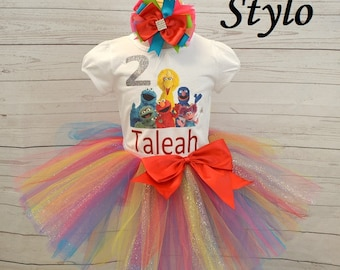 Sesame street birthday outfit,FREE SHIPPING, colorful birthday tutu,red sesame street tutu outfit, birthday outfit, sesame street