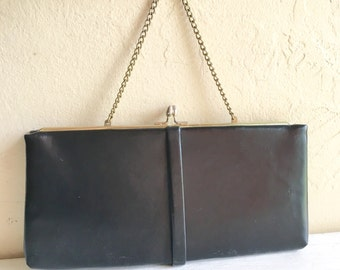 Vintage Classic Black with Gold Clutch Purse Small Bag Elegant Mid-Century Style