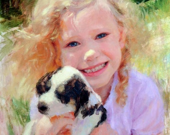 Custom oil painting portrait, person with pet, realistic, 11 x14 inches