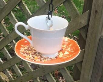 Teacup Bird Feeder - Orange