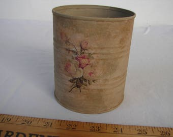 Vintage roses tin,shabby,old painted tin can with roses decoupage on front