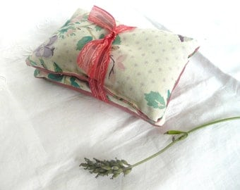 Hand made lavender sachets- two lavender sachets - vintage fabric lavender sachets - vintage lavender bags - hand made drawer sachets