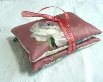 Hand made lavender pillows - two lavender sachets - vintage fabric lavender sachets - vintage lavender bags - hand made drawer sachets