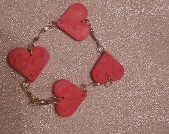 Polymer Clay Hearts Bracelet