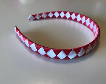 Red and White Woven Headband, Girls/Toddlers