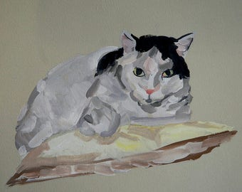 Ready to ship, Original dog painting on paper cat