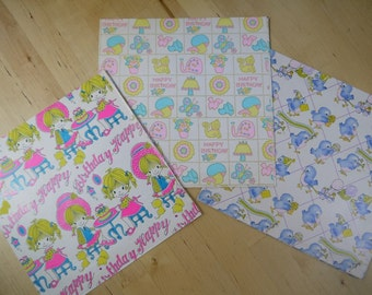 Vintage 70s/80s Happy Birthday Kids/Children Girls Wrapping Paper