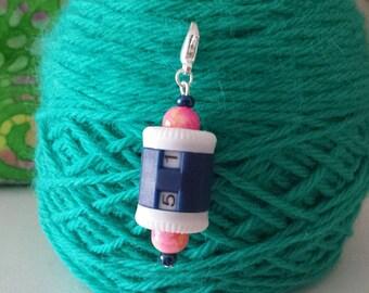 Blue Knitting/Crochet Row Counter- Knitting Stitch Marker-Progress Keeper-Hanging Row Counter*Row Counter*Pink  Beaded Row Counter*