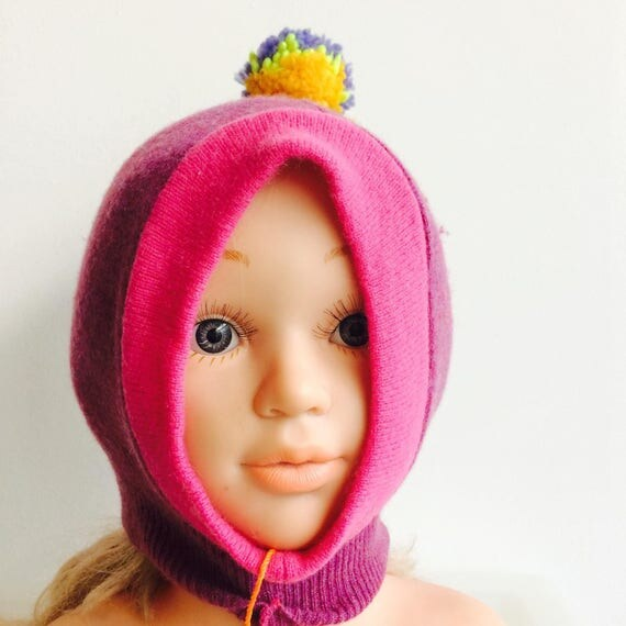 DIZZY 0-3m Cashmere Baby Hat Childrens Balaclava Bobble Hat Snood Hoodie Upcycled Cashmere Pom Pom Unisex