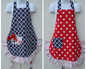 Nautical Apron, Little Girls Apron, Ready to Ship, Reversible Apron, Cute Apron, Red White and Blue Apron