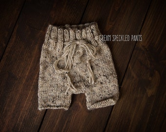 Newborn knit pants speakled cream ready to ship Photography Prop RTS