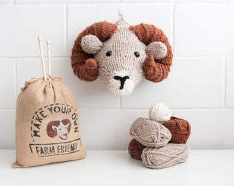 Faux Ram Knitting Kit - Make Your Own Farm Friend- DIY Trophy Head