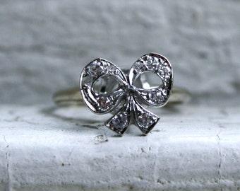 Retro High Set 14K White Gold 'Bow' Ring with Diamonds.