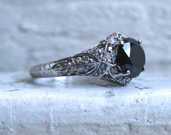 RESERVED - Sparkly Vintage 14K White Gold Black Diamond and Diamond Engagement Ring - 3.22ct.