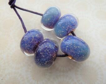 handmade lampwork silver glass beads, UK blue encased set