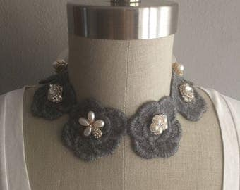 Grey Rose Embroidered Collar Necklace with Pearl and  Embelishment and Bow Back Closure