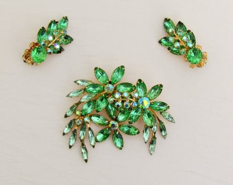 1950's Beaujewels green brooch and earrings, signed large costume pin and earrings