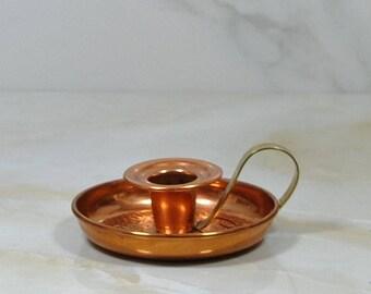 Vintage Copper Candleholder, Brass Handle with Copper-Coated Hammered Base, Copper Candle Holder, Coppercraft Guild,1970, Candlestick Holder