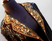 Awesome Black Sequins Jacket with Gold Sequins Trim