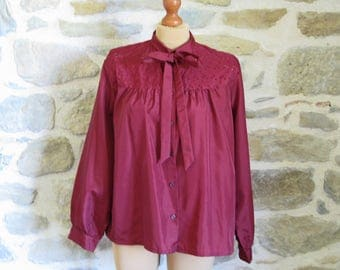 1980s wine red blouse with tie neck, silky secretary's shirt in bronze and black size M or L