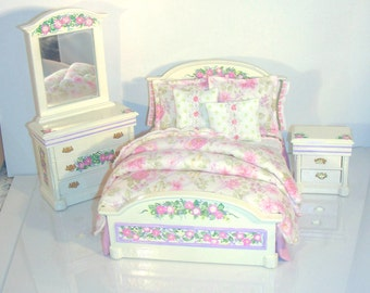 Pastel APRIL BLOSSOMS Pink Cream & Lavender Hand-Painted Dollhouse Miniature Bedroom Set 1:12 Scale Furniture