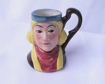 Vintage miniature Toby Character Pitcher Mug Staffordshire. England Toby mug pitcher. Toby cup.