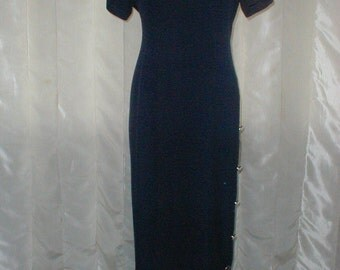 Jeffrey & Dara By Linda Hutley Size 12 Dress *Navy Blue With Brass Beads Buttons*