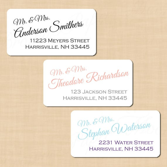 Calligraphy Address Labels Change All Colors