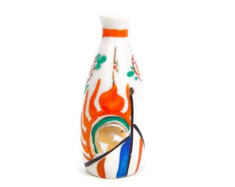 Vintage Japan Bud Vase Asian Jar Handpainted Temple Porcelain Miniature Vessel Oriental Vase