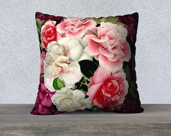 Vintage Pale Pink Flowers Burgundy Cushion Cover