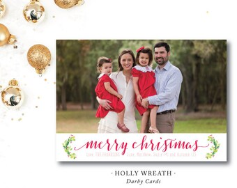Holly Wreath Christmas Cards