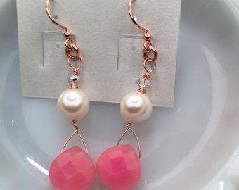 Lovely Pink n Pearl Earrings