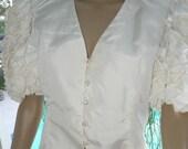 60% OFF Dramatic Morton Myles White Ruffle Cotton Crop Top, Ruffle Blouse, Rhinestone Buttons