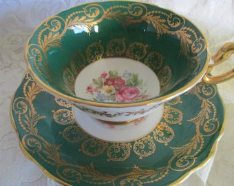 Old Foley green teacup and saucer, bone china tea cup, english tea set, vintage teacup, excellent condition