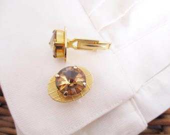 Vintage men's topaz cuff links, gold tone cuff links, mens jewelry, shirt  cuff links, vintage cuff links, excellent condition