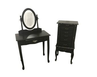 Black Vanity and Jewelry Armoire