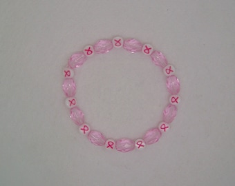 Breast Cancer Awareness Pink Bead Beaded Bracelet