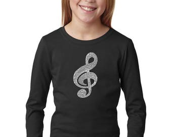 Girl's Long Sleeve T-Shirt - Created Using a List of the Most Popular Classical Music Composers of All Time Music Note