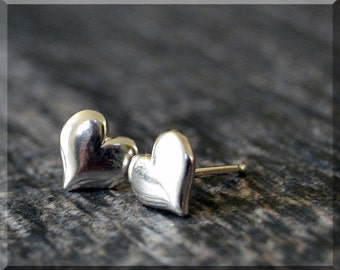 Sterling Silver Heart Earrings, Puffed Heart Jewelry, Post Earrings, Handmade sterling silver post stud earrings, Heart earrings