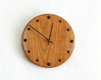 Wall Clock, Cherry Wood Clock, Reclaimed Wood,  Home and Living, Home Decor, Clocks