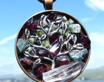 Tree of Life. NEW Tactile Collection. Touch the Emeralds, Jade and Garnets with a Quartz Crystal. Mandala!