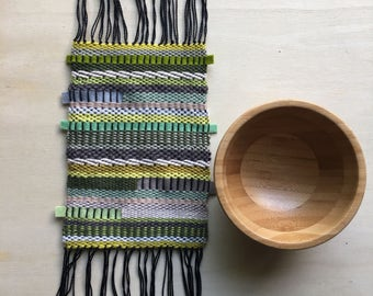 SALE - 50% reduced - Hand woven modern green table runner weave