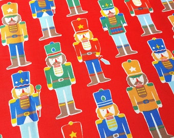 Lecien Christmas fabric, nutcracker print in red, printed in Japan, children fabric, fat quarter