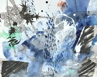 Expressionist Painting Grungy Mixed Media Piece Urban Art indigo Blue