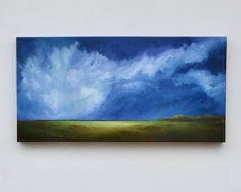 Landscape painting, big sky painting, original oil painting, cloud landscape painting - Out of the Blue