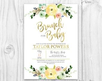 Floral Baby Shower Invitation, Brunch For Baby Invitation, baby shower gender neutral invitation, boho baby shower, yellow floral invitation