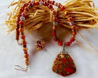 20 Inch Orange Sea Sediment Jasper Pendant Necklace with Earrings