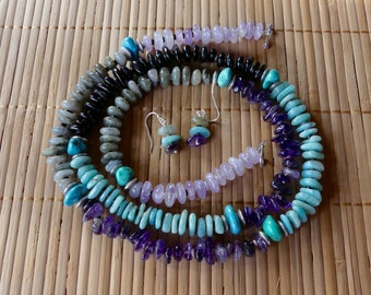 35 Inch Five Color Southwestern Freeform Gemstone, Turquoise and Shell Heishi Necklace with Earrings