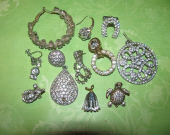 Vintage Destash Rhinestone Earring Jewelry Craft Lot Bits and Pieces