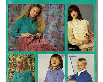 Learn To Knit Pattern Book 653 Bernat Complete Book of Knitting with 32 projects.